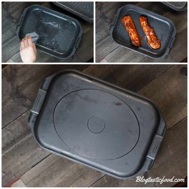 A step by step series of photos showing water being added to a deep try, then 2 raw BBQ ribs going in as well, and then a lid on top of the tray.