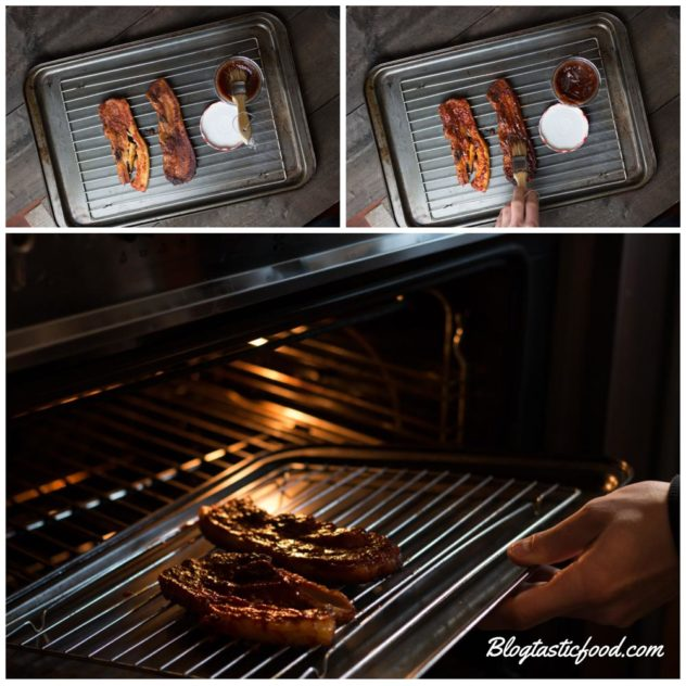 A series of photos showing oven baked ribs on a wire rack being coated in BBQ sauce and then being put back in the oveb.
