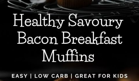 A savoury bacon muffin recipe presented in the form of a pin for Pinterest.
