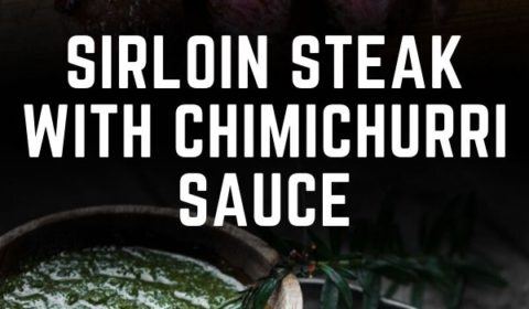 A sirloin steak with chimichurri sauce recipe presented in the form of a pin for Pinterest.