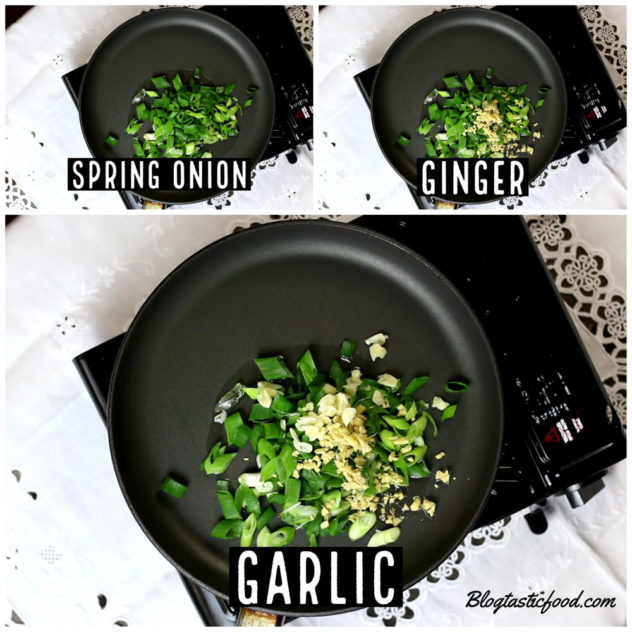 A collage of 3 photos showing spring onion, ginger and galic going in a pan.