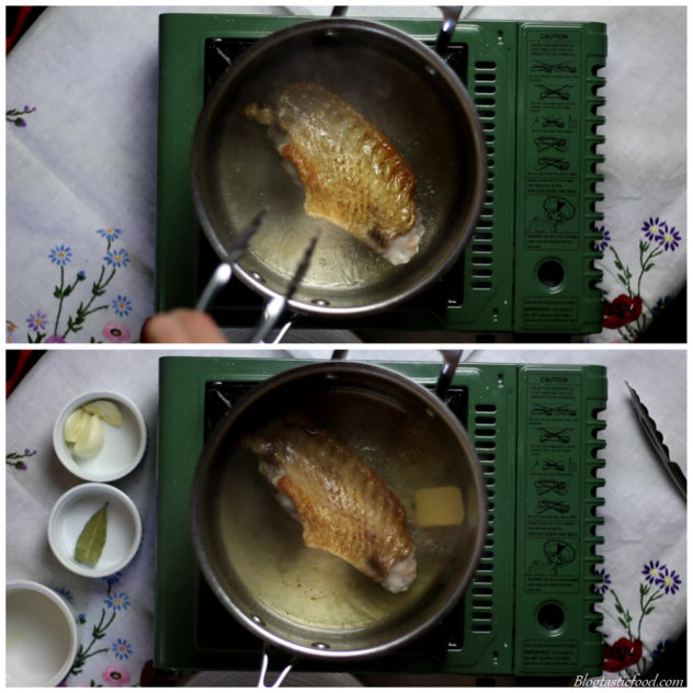 Collage of 2 photos, 1 photo of a turkey wing frying in a pot, and 1 of butter added to the pot.
