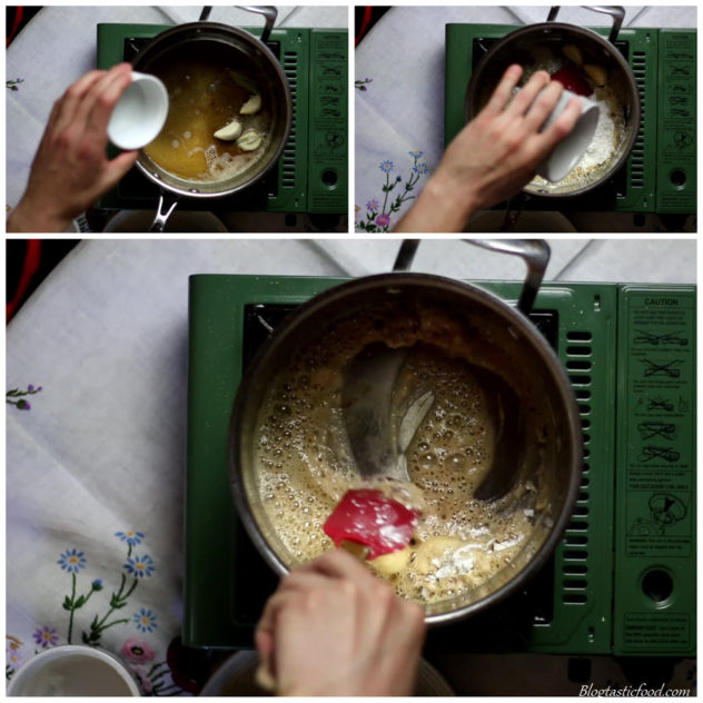 A collage of 3 photos showing bay leaves, garlic cloves and cornflour being added to a pot of brown butter and being mixed through.