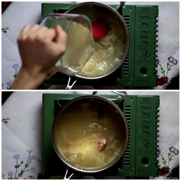 A collage of 2 photos, 1 of stock being added to a pot, and another photo of the stock thickened into gravy and simmering.