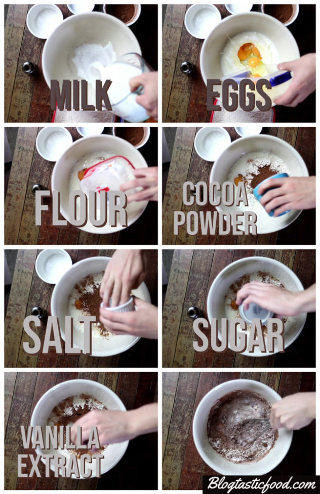 A collage of 8 photo showing the process of the ingredients for chocolate crepe batter being added to a bowl and whisked.