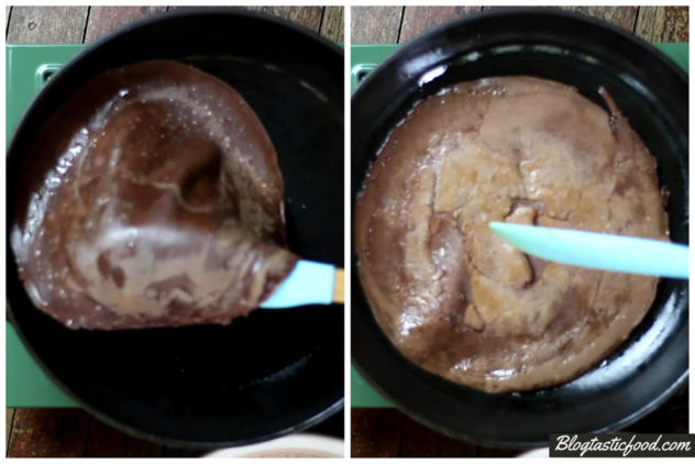 a collage of 2 photo showing a chocolate crepe being flipped.