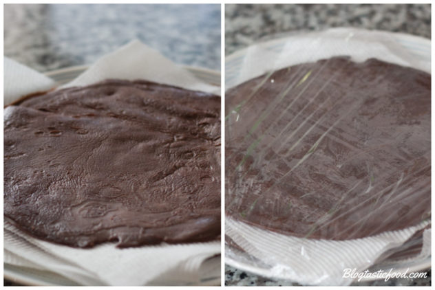 A collage of 2 photos showing how to stack and wrap crepes for storing.