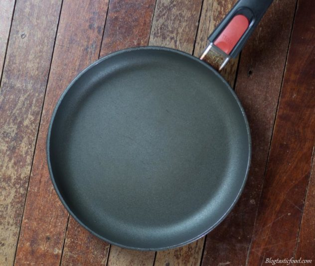 An overhead photo of a non-stick pan.