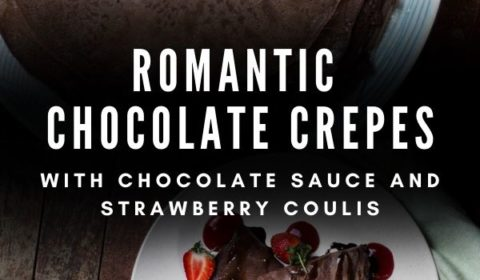 A romantic chocolate crepe recipe presented in the form of a pin for Pinterest