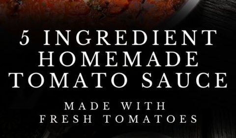 A 5 ingredient tomato sauce recipe presented in the form of a pin for Pinterest.
