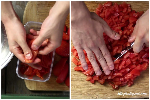 A collage showing peeled tomatoes being de-seeded and finely chopped.