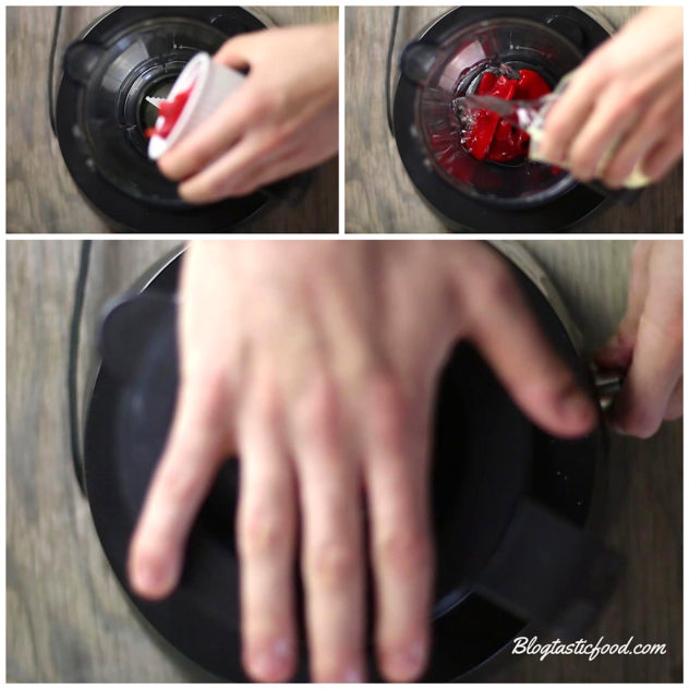 A collage showing red peppers and water being added to a blender and being blended.