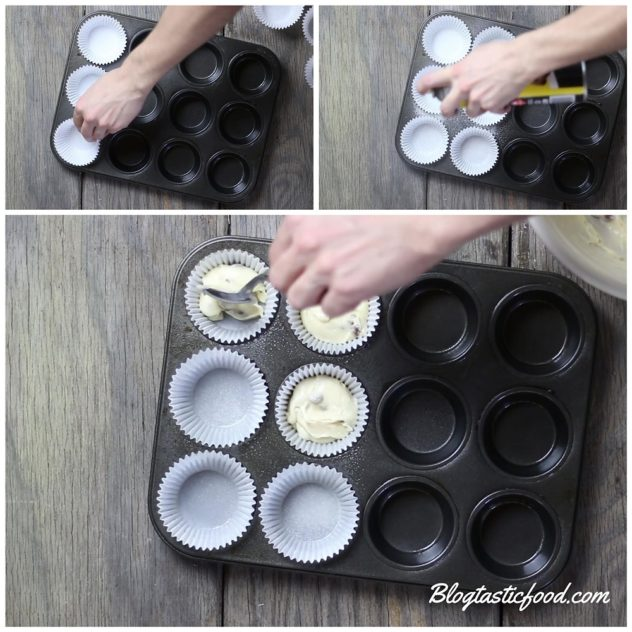 A collage of 3 photos showing muffin cases being added to a muffin tin, then being sprayed with cooking spray.