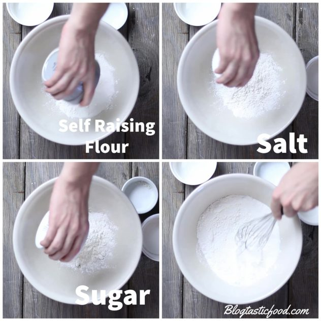 A collage of 4 photos showing self raising flour, salt and sugar being added to a bowl, then being whisked.