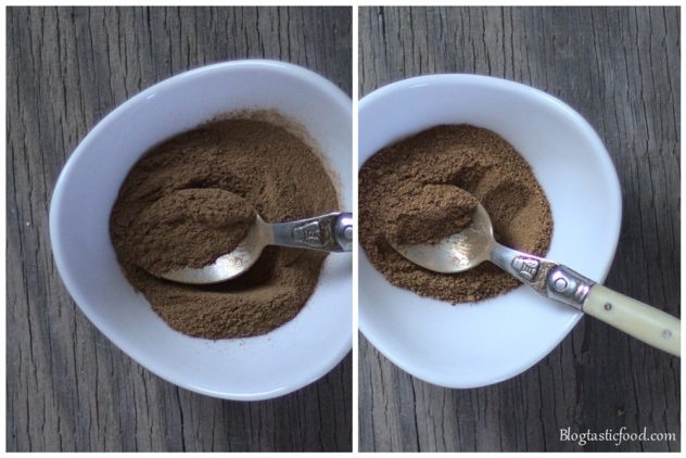 A collage of 2 photos, one of nutmeg in a mini bowl, and one of cinnamon in a mini bowl.