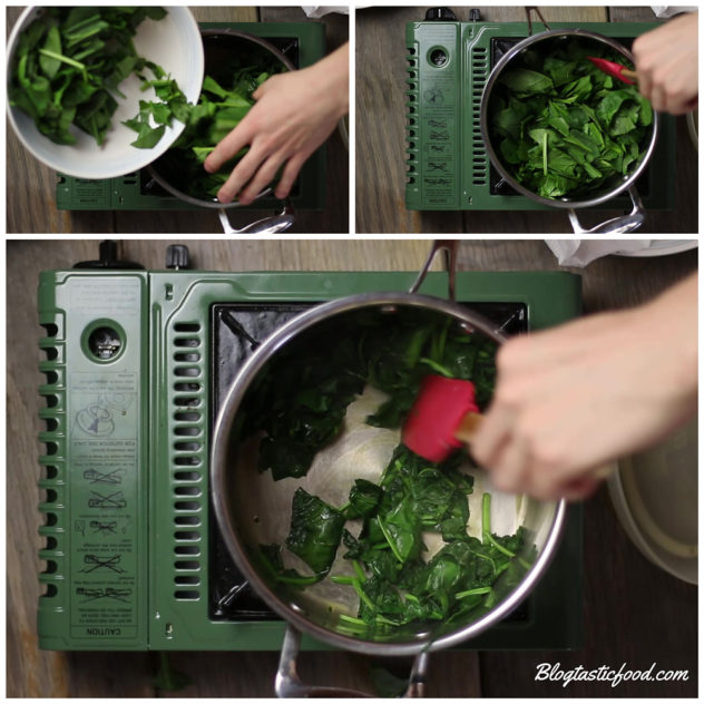 A collage of 3 photos showing how to wilt spinach in a pot.