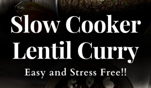 A slow cooker curry recipe presented in the form of a pin for Pinterest.