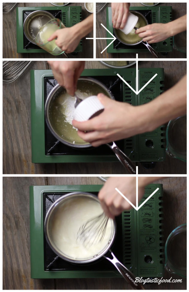 A collage showing the ingredients for sour cream sauce being added to a pot.
