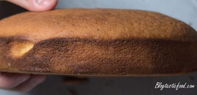 A close up of the side of a sponge cake, with an incision in it.